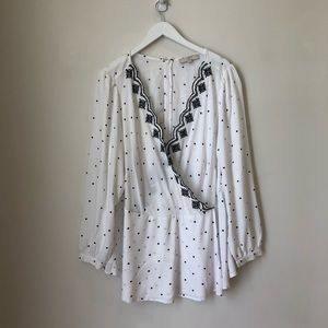 Loft White Dot Faux Wrap Scalloped Blouse